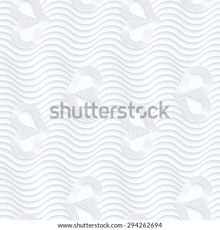 Quilling paper wavy lines and hearts with rim.White geometric background. Seamless pattern. 3d cut out of paper effect with realistic shadow.