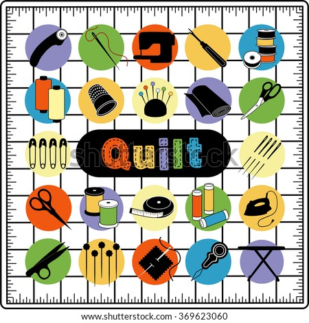 Quilt and patchwork icons, tools and supplies on cutting mat grid for sewing, applique, trapunto, textile arts and crafts.  - stock vector