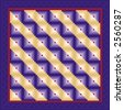 "QUILT, Log Cabin Pattern, ""Straight Furrow"" design variation. Traditional pattern in purples and red, purple satin border. EPS8 compatible. - stock photo"