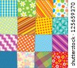 Quilt Patchwork Texture. Seamless Colorful Vector Pattern - stock vector