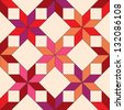 Quilted star shape fabric seamless pattern in shades of red, vector - stock vector