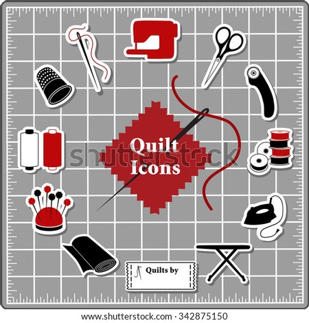 Quilting Stickers for DIY sewing: pins, pincushion, needle, thread, iron, ironing board, scissors, bobbins, cloth, sewing machine, rotary cutter, thimble, label on self healing cutting mat.  - stock vector
