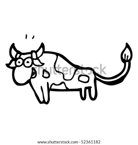 quirky cartoon of a bull - stock vector