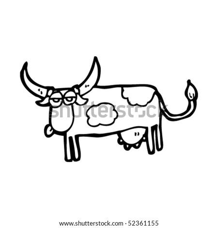 quirky cartoon of a cow - stock vector
