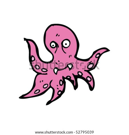 quirky cartoon sea monster - stock vector