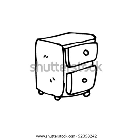 quirky drawing of a bedside cabinet - stock vector
