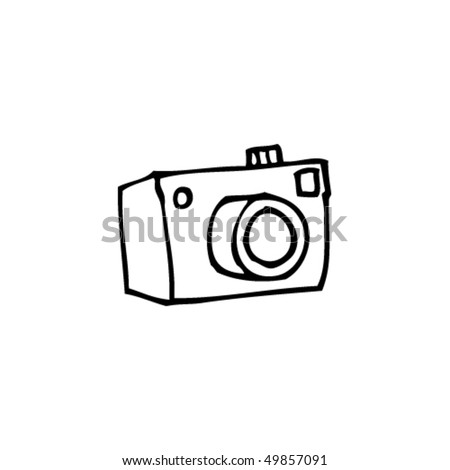 quirky drawing of a camera - stock vector