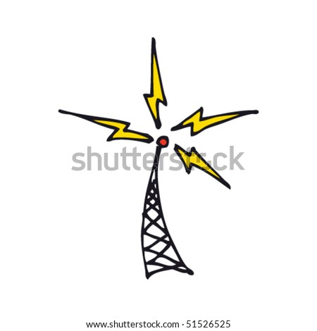 Quirky drawing of a radio tower - stock vector