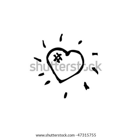 quirky drawing of a shining heart - stock vector