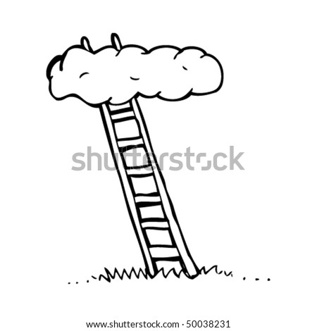 quirky drawing of a sky ladder - stock vector