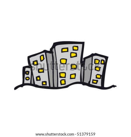 quirky drawing of city buildings - stock vector