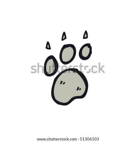 quirky drawing of paw print - stock vector