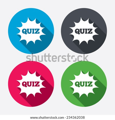 Quiz boom speech bubble sign icon. Questions and answers game symbol. Circle buttons with long shadow. 4 icons set. Vector - stock vector