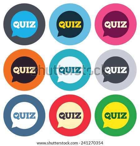 Quiz check in speech bubble sign icon. Questions and answers game symbol. Colored round buttons. Flat design circle icons set. Vector - stock vector