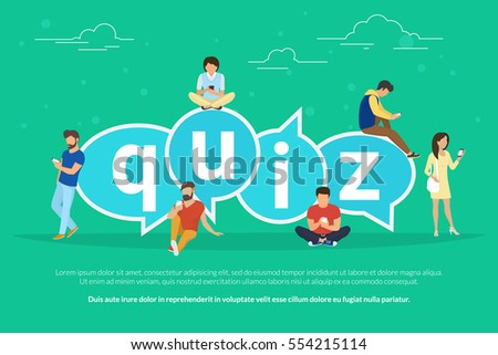 Quiz flat concept illustration of young people using mobile gadgets such smartphone for texting, messaging and answering questions via internet near quiz big bubbels with letters