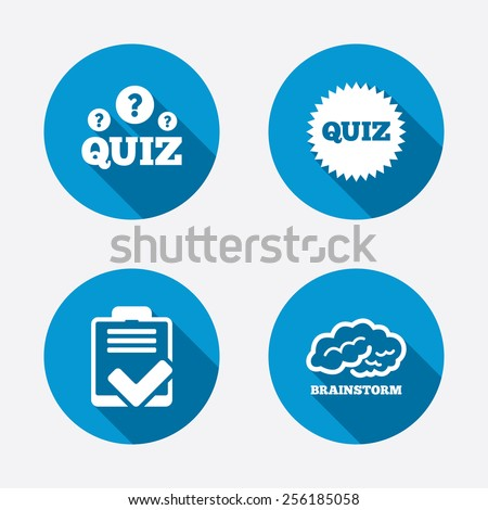 Quiz icons. Brainstorm or human think. Checklist symbol. Survey poll or questionnaire feedback form. Questions and answers game sign. Circle concept web buttons. Vector - stock vector
