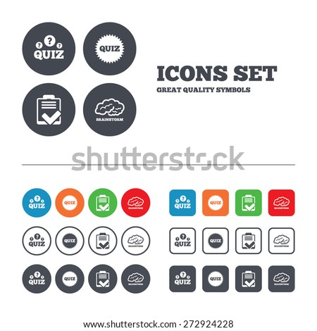 Quiz icons. Brainstorm or human think. Checklist symbol. Survey poll or questionnaire feedback form. Questions and answers game sign. Web buttons set. Circles and squares templates. Vector - stock vector