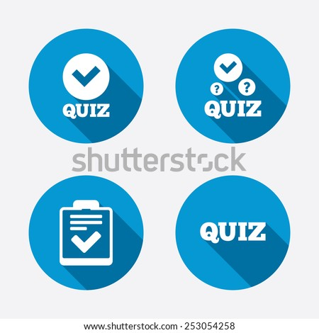 Quiz icons. Checklist with check mark symbol. Survey poll or questionnaire feedback form sign. Circle concept web buttons. Vector - stock vector
