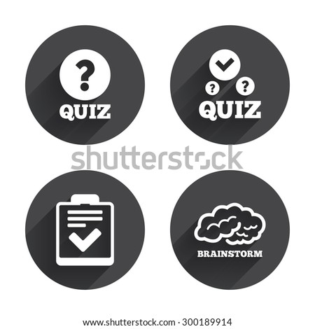 Quiz icons. Human brain think. Checklist with check mark symbol. Survey poll or questionnaire feedback form sign. Circles buttons with long flat shadow. Vector - stock vector