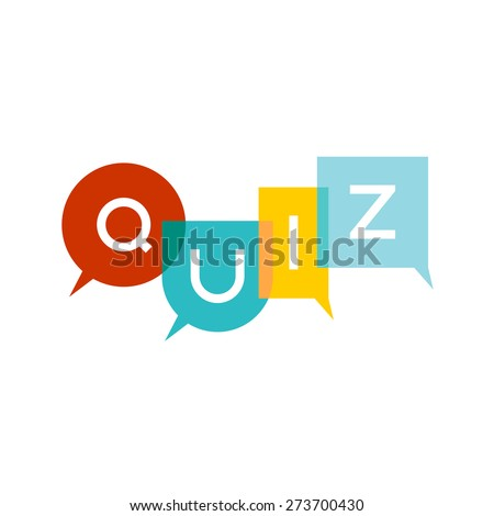 Quiz letters sign with speech bubbles. Colorful transparent flat style title logo. Transparency are flattened. - stock vector