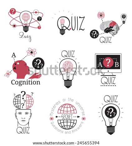Quiz logo emblems labels design element. Mind games logo. Idea of the sign. Human brain logotype. Thinking person, mind sign logo. Questions and answers. Computer intelligence logo. Human brain logo - stock vector