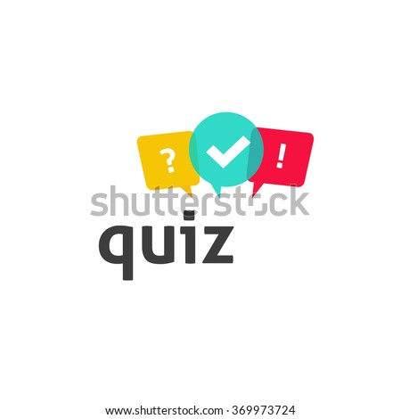 Quiz logo with speech bubble symbols, concept of questionnaire show sing, quiz button, question competition, exam, interview modern emblem design vector illustration isolated on white background - stock vector