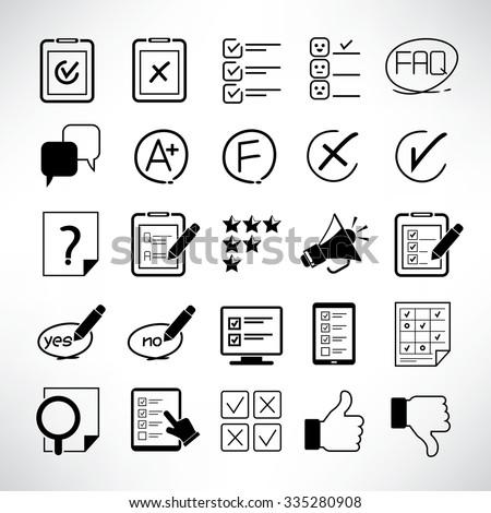 quiz, questionnaire, survey icon set - stock vector
