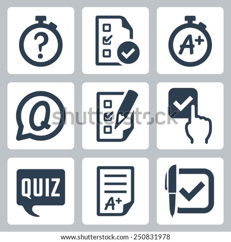 Quiz related vector icon set - stock vector