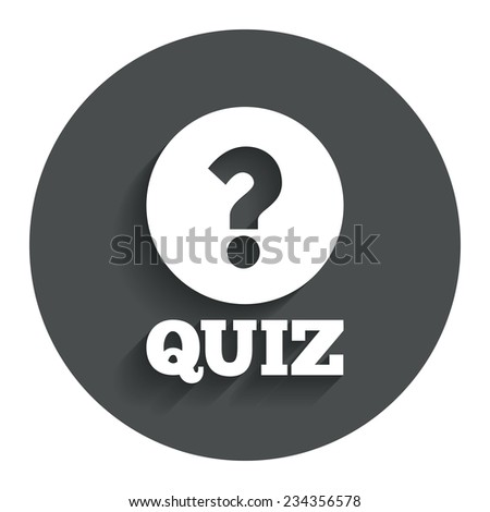 Quiz with question mark sign icon. Questions and answers game symbol. Gray flat button with shadow. Modern UI website navigation. Vector - stock vector