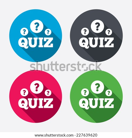 Quiz with question marks sign icon. Questions and answers game symbol. Circle buttons with long shadow. 4 icons set. Vector - stock vector