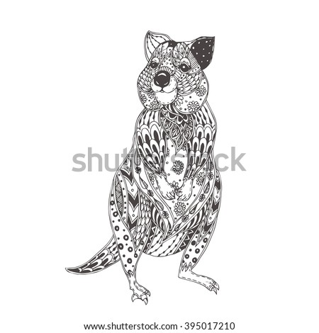 Quokka. Hand-drawn quokka with ethnic floral doodle pattern. Coloring page  for adults - zendala, design for spiritual relaxation, vector illustration, isolated on a white background. Zen doodles. - stock vector