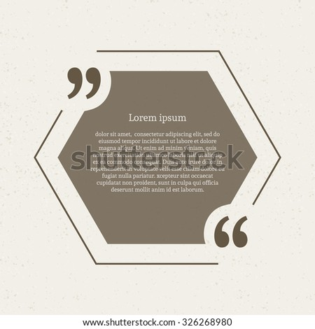 Quotation mark speech bubble empty quote stock vector hd royalty quotation mark speech bubble empty quote blank citation template hexagon design element for business reheart Images