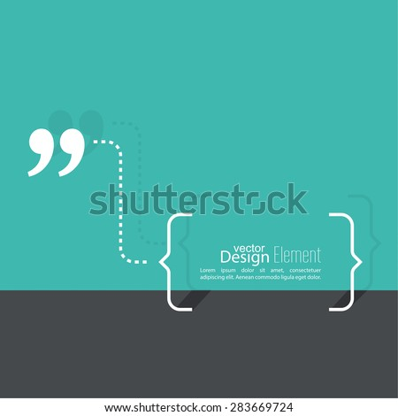 Quotation Mark Speech Bubble. Quote sign icon.  Flat design with shadow - stock vector