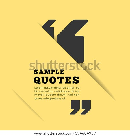 Quote Blank Template On Yellow Background Stock Vector 394604959