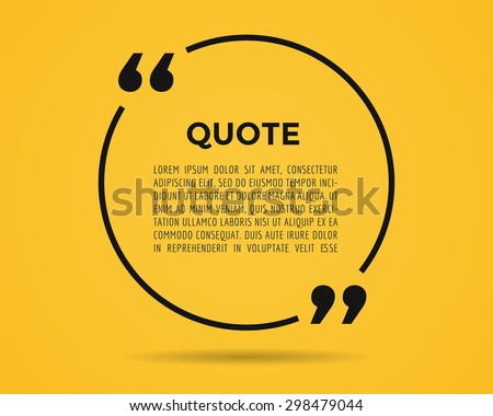 Quote blank template. Quote bubble. Empty template. Circle business card template, paper sheet, information, text. Print design. Quote form. Template vector. Yellow poster, yellow quote circle blank - stock vector