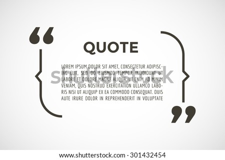 Quote blank with text bubble. Quote box balloon. Commas, note, message, quote blank, template, text, marked, tag and comment. Vector stock element for design. Dialog box. - stock vector