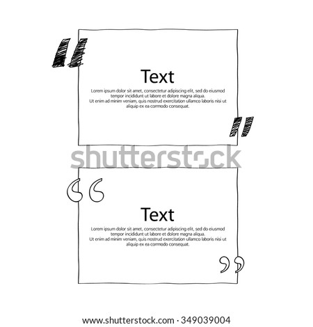 Quote boxes with marks set. Text formatting design templates. Vector illustration hand drawn scribble style. - stock vector