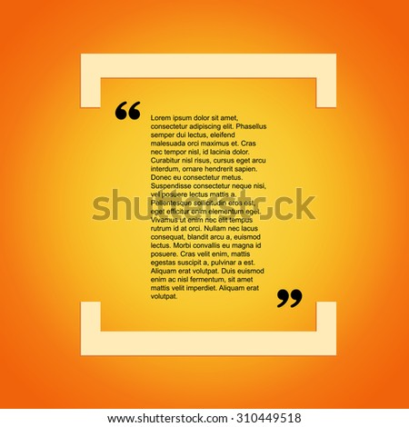 Quote citation Typographical Template, vector design. Light yellow color version. For your commercial project or personal use. - stock vector