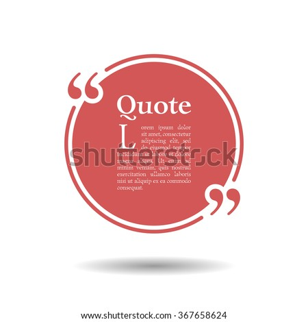 Quote empty text bubble. Frame ball is round. Quotes, comma, note, message, quote, blank, template, text, bulleted, tags and comments. Dialog window. Vector design element. Red and white - stock vector