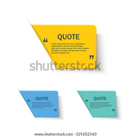 Quote forms color set on paper banner with shadow, vector design template