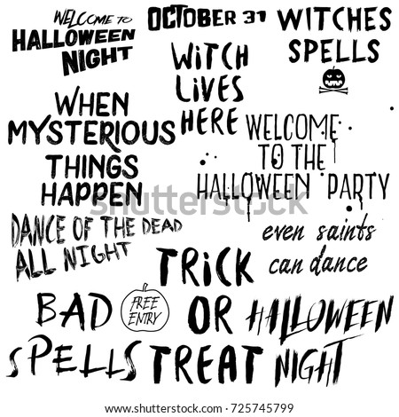 High Quality Quote Halloween Typography Set. Calligraphy Horror Style Collection. Holiday  Lettering. Scary Phrase Overlay