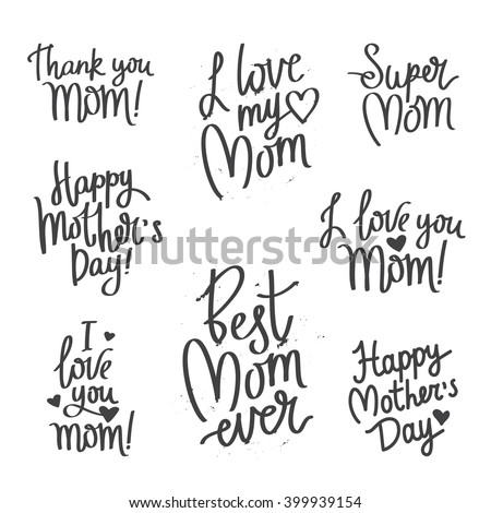 Quote I Love You Mom! Fashionable calligraphy. Excellent gift card for Mother's Day. Vector illustration on white background. Thanks mom. Greeting print