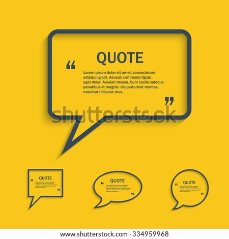 Quote line speech bubble set, vector template - stock vector