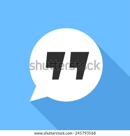 Quote sign icon. Flat Design vector icon - stock vector