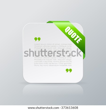 Quote text card with ribbon isolated on grey background, abstract design element - stock vector
