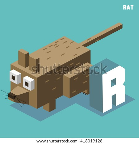 R for Rat, Animal Alphabet collection. vector illustration - stock vector