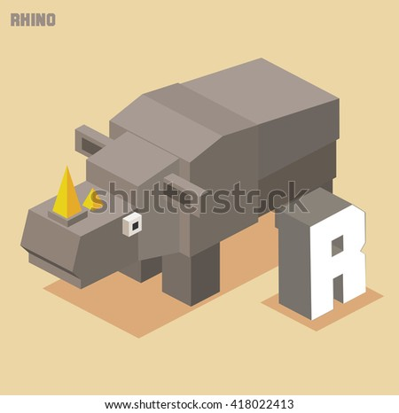 R for Rhino. Animal Alphabet collection. vector illustration