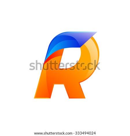 R letter blue and Orange logo design Fast speed design template elements for application. - stock vector