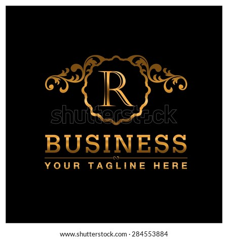 R letter Gold Luxury Logo template flourishes calligraphic elegant ornament lines. Business sign identity for Restaurant, Royalty, Cafe, Hotel, Heraldic, Jewelry, Fashion and other vector illustration