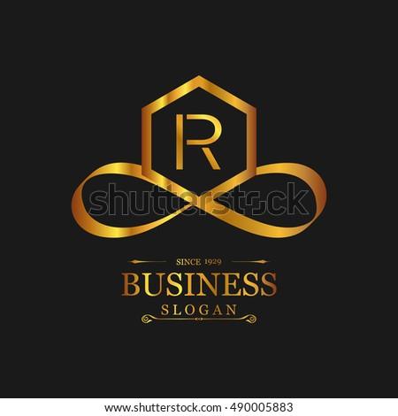 R Letter Logo Gold Emblem Line Art Design Beautiful Boutique Designs